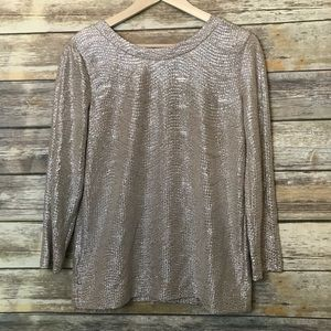 Ann Taylor Gold shimmer blouse Size Small